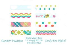 Candy Box Digital just released Summer Vacation Digital Washi Tape on Creative Market. Great for digital scrapbooks or journals, or graphic design.