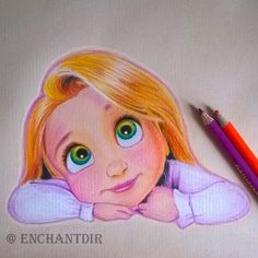 art, colored pencils, disney, drawing, princess, rapunzel