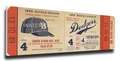 1955 World Series Game 4 Canvas Mega Ticket - Brooklyn Dodgers