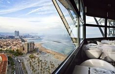 Torre d'alta mar , Barcelona, Spain - Restaurant 75 meters high in an old port cable's tower with a 360 degree view of the Mediterranean Sea and Port Vell