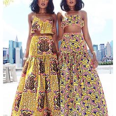 Classic long skirt ankara styles with crop top for slim ladies, long african ankara skirt with flare with matching crop top African Inspired Fashion, African Print Fashion, Africa Fashion, Fashion Prints, Fashion Design, African Attire, African Wear, African Women, African Print Dresses