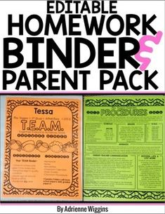 Note to Self: LOOK AT THIS IN AUGUST!  Completely editable homework binder with some BTS parent forms.