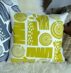 Log pile cushion on white linen by roddyandginger on Etsy, $40.00