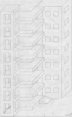 Torres Raras - JM Web Personal Graph Paper Drawings, Graph Paper Art, Art Drawings Sketches, 3d Art Drawing, City Drawing, Easy Flower Drawings, Easy Drawings, Pixel Art, Interior Architecture Drawing