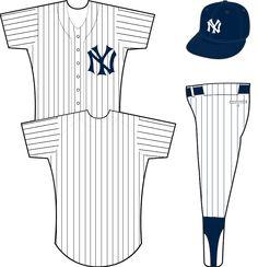 f3cffab59ae New York Yankees Home Uniform - White uniform with blue pinstripes and  interlocking NY crest