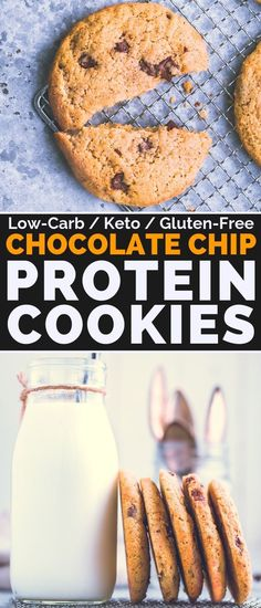These Healthy Chocolate Chip Protein Cookies are my new addiction. Extra Buttery, slightly crunchy on the outside, chewy and soft in the inside, hmm so good Protein Cookies, Protein Snacks, Healthy Cookies, Keto Cookies, Healthy Protein, Protein Bars, High Protein, Protein Chocolate Chip Cookies, Protein Muffins