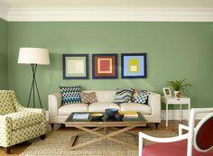 bright, bold living room - winchester sage 628 (walls), citronée 281 (ceiling), mascarpone AF-20 (trim)