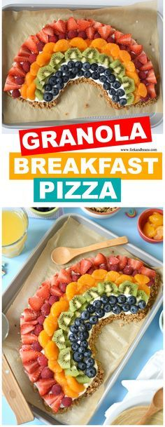 Feel good about feeding your kids a healthy morning meal option when you make them this rainbow-themed No Bake Granola Breakfast Pizza.