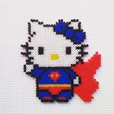 Superman Hello Kitty hama beads by hadavedre