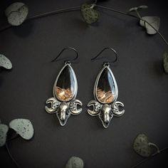 Bellatrix Earrings - OOAK Fossilised Palm Root and bat skulls Bellatrix, Jewelery, Skull, Trending Outfits, Drop Earrings, Unique Jewelry, Sterling Silver, Handmade Gifts, Hooks