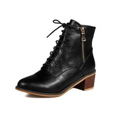 MORAZORA Autumn 2017 high quality fashion lace up ankle boots med heel round toe pu soft leather shoes woman Leather Shoes, Soft Leather, Shoes 2017, Women's Shoes, Lace Up Ankle Boots, Chelsea Boots, Combat Boots, Kitten Heels, Autumn 2017