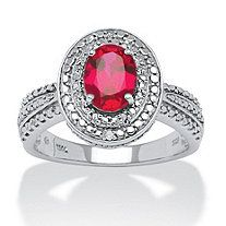 1.58 TCW Oval-Cut Lab Created Ruby and Diamond Accent Ring in Platinum over Sterling Silver