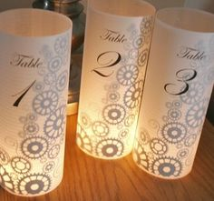 Table Numbers labeled red 1 red 2 green 1 green 2 and so on and go in vases at hotel with no bottom or top with tea light!!!