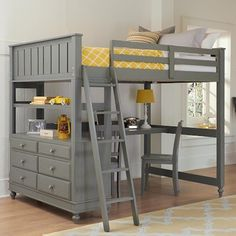 NE Kids Lake House Full Loft Bed with Desk and Dresser