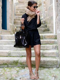 Noir + sandales léopard - superbe tenue élégante