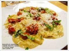 Raviolis maison Ch�vre/Ricotta, basilic et tomates cerises semi-confites !
