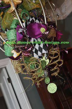 Flower Child Designs: Mardi Gras Madness! Upside Down Mardi Gras Tree Topper