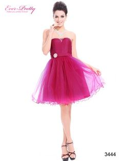 Strapless Hot Pink Rhinestones Organza Empire Waist Party Dress - Ever-Pretty