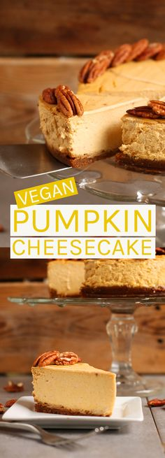 Celebrate the holidays with this vegan pumpkin cheesecake. A rich and creamy custard over a spicy ginger cookie crust.