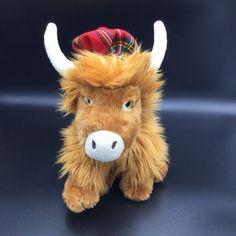 "Keel Toys Scottish Highland Cow Plush Brown Tartan Hat Soft Toy Stuffed 9"" #KeelToys"