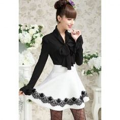 Elegant Slim-Fit Long Puff Sleeves Vintage Bow Blouse For Women (BLACK,ONE SIZE) China Wholesale - Sammydress.com