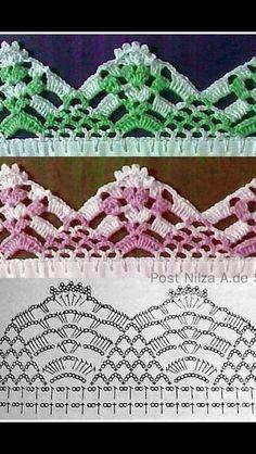 How to Make Crochet Look Like Knitting (the Waistcoat Stitch) Crochet Border Patterns, Crochet Lace Edging, Filet Crochet, Tunisian Crochet, Crochet Chart, Crochet Trim, Crochet Doilies, Crochet Stitches, Knit Crochet
