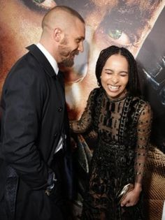 Tom Hardy with Zoe Kravitz at the premiere of Mad Max Fury Road in LA - May 7th 2015