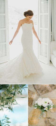 A Greek Destination Wedding On Tzamaria Beach In iOS With A Enzoani Dress And Peach Bridesmaid Dresses With Photography By Anna Roussos. | Rock My Wedding