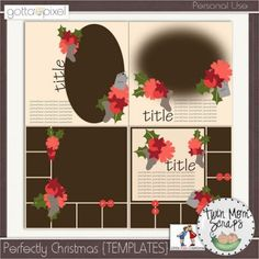 Perfectly Christmas Digital Scrapbook {TEMPLATES}. $4.00 at Gotta Pixel. www.gottapixel.net/