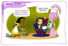 pocket princesses  I identify with Belle - lots of books and LOADS of tea.