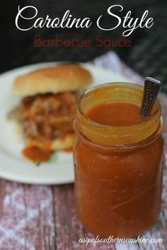 A tangy Carolina Barbecue Sauce is the perfect way to top ribs, pulled pork, chicken, or anything else you want to make finger lickin'. -****This is more of a Western Carolina (Piedmont) style BBQ sauce - Brandon Rib Sauce, Marinade Sauce, Carne Asada, Chutneys, Barbecue Sauce Recipes, Tangy Bbq Sauce Recipe, Pulled Pork Sauce Recipe, Bbq Sauces, Georgia Bbq Sauce Recipe