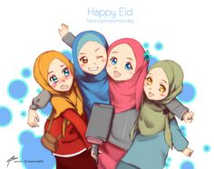 Eid Mubarak 2015 by kuzuryo on DeviantArt Friend Cartoon, Friend Anime, Girl Cartoon, Cartoon Art, Best Friend Drawings, Girly Drawings, Best Friend Pictures, Bff Pictures, 4 Best Friends
