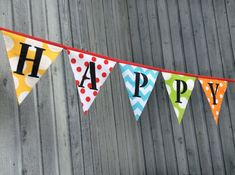 Fabric Birthday Banner Bunting Flags Party Decoration Happy Birthday Pennant Flags Circus Banner Red, Aqua, Yellow, Green, Orange Large Flag