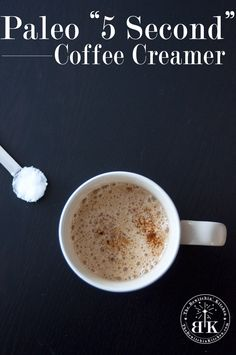 Homemade Paleo Coffee Creamer - This is a coffee game changer. It only takes a few seconds to whip up (w/ the Vitamix) & is a clean eating option for those of you who love flavored coffee creamer. Dairy Free Recipes, Whole Food Recipes, Gluten Free, Healthy Recipes, Whole30 Recipes, Paleo Coffee Creamer, Coffee Games, How To Eat Paleo, Paleo Breakfast