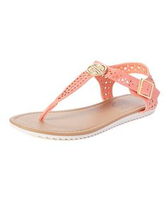 Cutout Embellished T-strap Sandal CORAL
