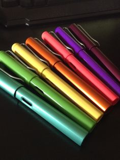 My Lamy and Hero 359 collection as of 5/4/15. :D Happy Rainbow!