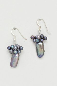 Sterling Silver Blue Pearl Earrings on Emma Stine Limited