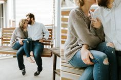 Engagement photos on front porch for in-home engagement photos. Louis wedding photography by Jacoby Photo & Design. Couple Photography Poses, Maternity Photography, Wedding Photography, Friend Photography, Teen Couple Pictures, Couple Photos, Family Pictures, Engagement Couple, Engagement Pictures