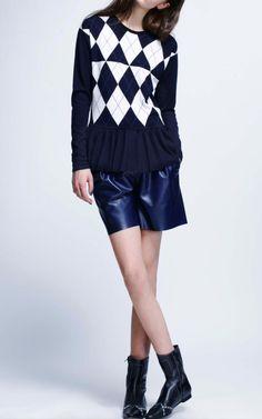 Silk Cashmere Argyle Sweater With Pleated Hem by Derek Lam - Moda Operandi - refashion idea