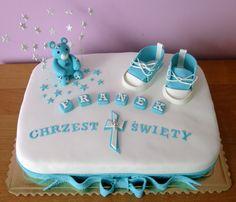 Turkusowo- biały tort na chrzest