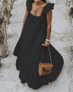 Slip Polyester Solid Round Neckline Casual Ruffles A-line Dress Maxi Short Sleeve Day Dresses Spring, Summer Beach Dresses, Day Dresses, Bohemian Dresses, Summer Dresses On Sale, Sleeveless Summer Dresses, Elegant Summer Dresses, White Maxi Dresses, Mini Dresses, Dress Black