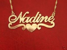 Gold Name Necklace with Heart Nadine Style, any name