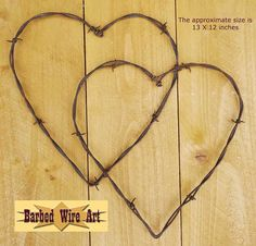 Double Hearts - Handmade metal decor barbed wire art country western wall sculpture