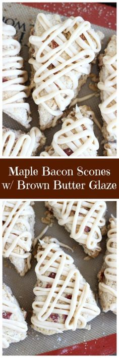 Brown sugar scones with maple flavor, crispy bacon, and maple brown butter glaze! They are made with bacon fat!! They are addictive and intoxicating!