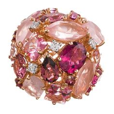 Ugo Cala Pink Topaz Ruby Diamond Gold Dome Ring | From a unique collection of vintage dome rings at https://www.1stdibs.com/jewelry/rings/dome-rings/