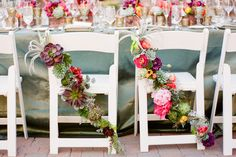 From the fresh #florals to the earthy hues, down to the natural succulents, this #wedding chair decor is stunning x