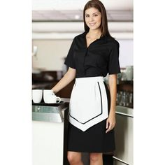 White Apron with Black Trim
