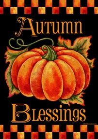 """Decorate your front yard this fall with a beautiful house flag featuring a pumpkin on a dark background and the words """"Autumn Blessings"""". It is sure to catch the attention of all those walking by. Made by Custom Decor. Dulces Halloween, Fall Halloween, Pretty Halloween, Halloween Signs, Halloween Halloween, Mabon, Autumn Painting, Autumn Art, Tole Painting"""
