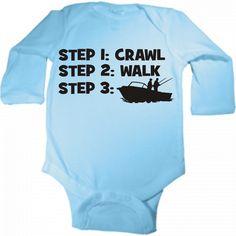 crawl walk fishing fisherman custom baby by KIDSROCKCLOTHING, $10.99