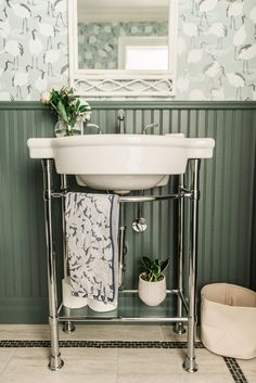 Powder Room, Powder Room Wallpaper, Powder Room ideas, Farrow & Ball paint, green smoke paint, #bathroominspiration, #powderroom, #bathroomwallpaper, green bathroom